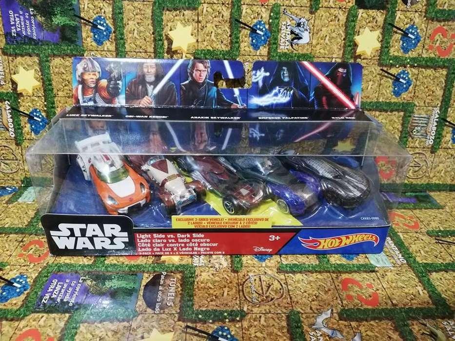 Pack Vehiculos Star Wars Skywalker, Kenobi, Palpatine , Kylo Lado Claro Lado oscuro Hotwheels