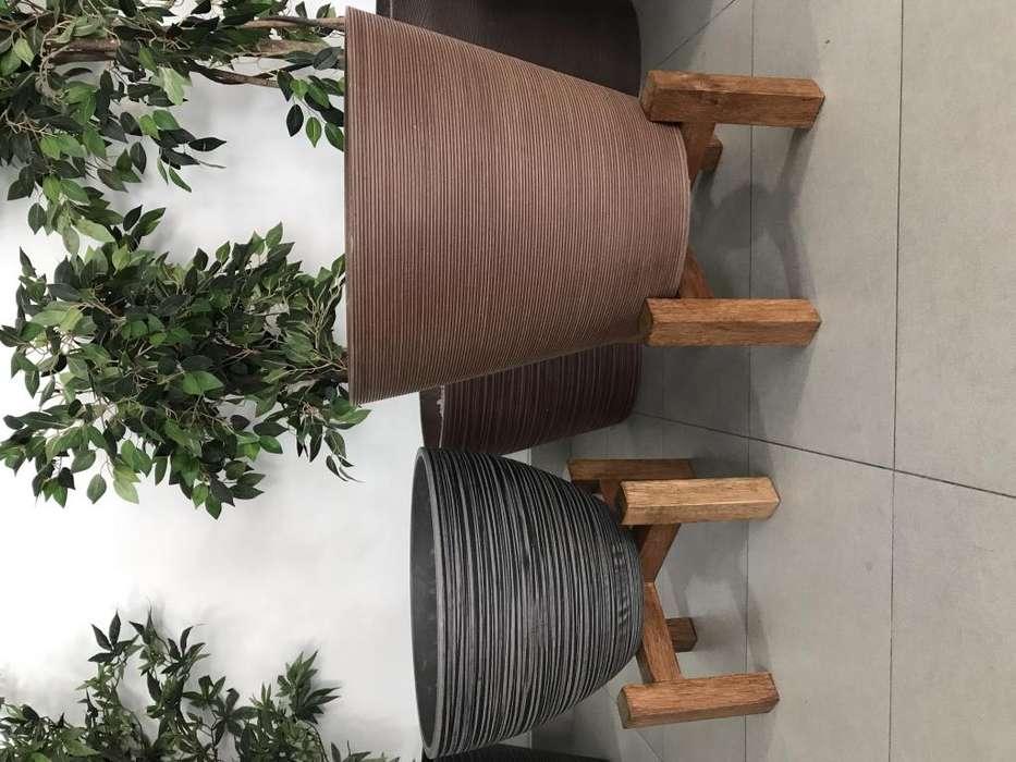 Porta macetas maceteros de madera tipo Seike