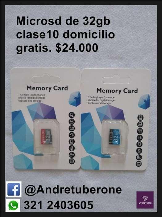 MICROSD DE 32GB CLASE 10 DOMICILIO GRATIS