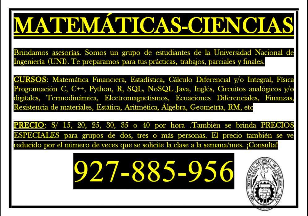 Profesor de matemática. UNI. Clases particulares