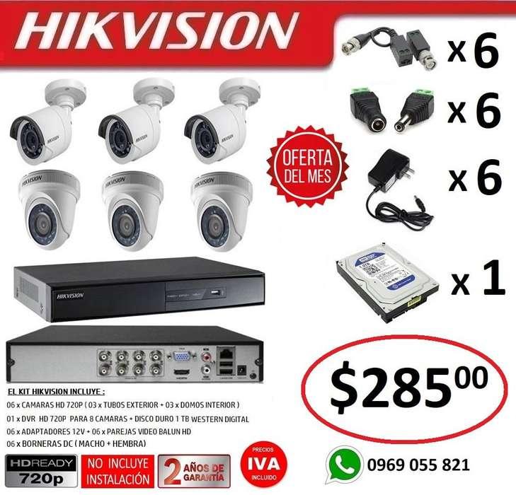 Combo 6 Camaras Seguridad Vigilancia Hd 720p Original Hikvision
