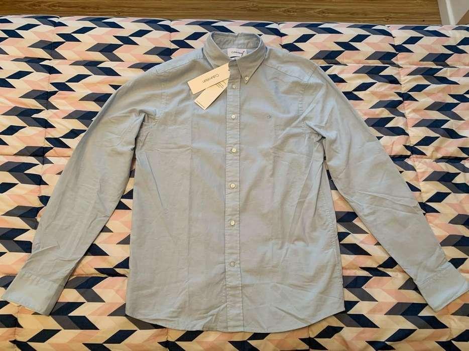 <strong>camisa</strong> Calvin Klein Regular Fit Celeste