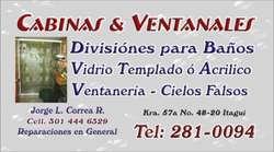 Divisiones Cabinas, Vidrio Templado Promoción 290.000