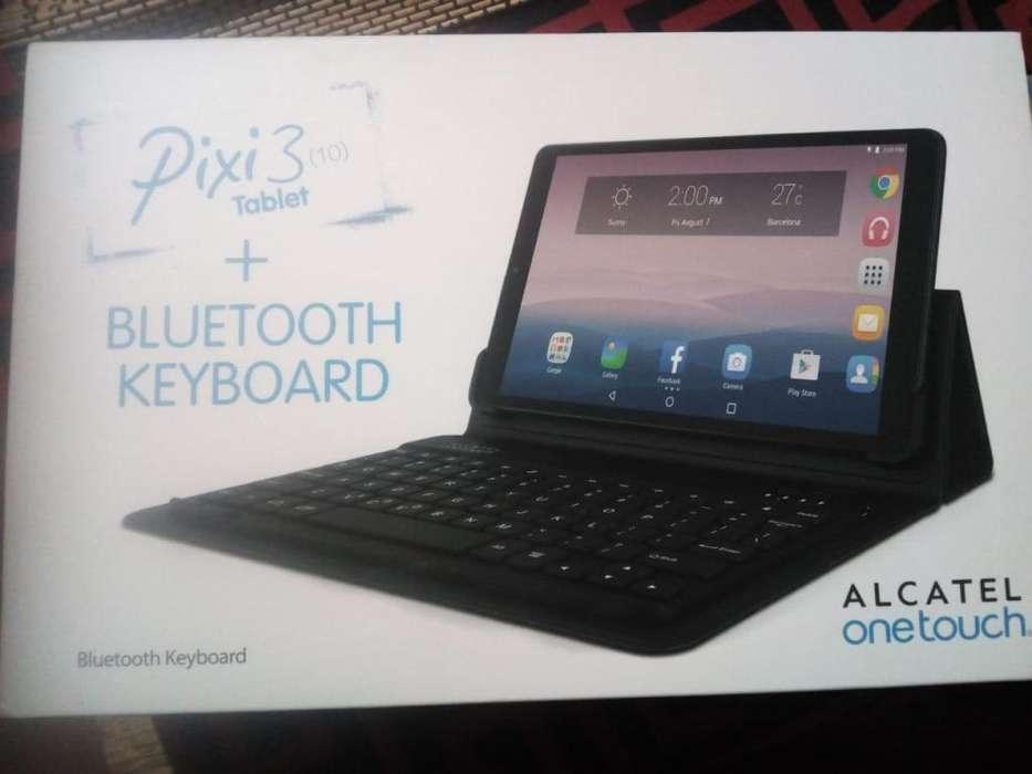 Tablet Pixi 3 10 Bluetooth Keyboard Usado C/ Funda Negra