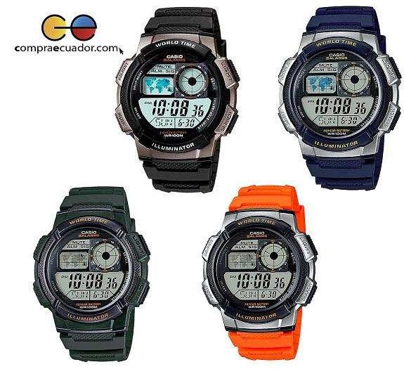 Reloj <strong>casio</strong> Ae1000w Cronómetro Alarma 10 Bar Varios Colores