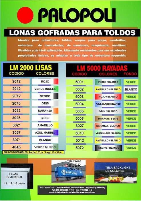Lona TELA, Toldo Lisa y Rayada Ancho 1.53m PALOPOLI