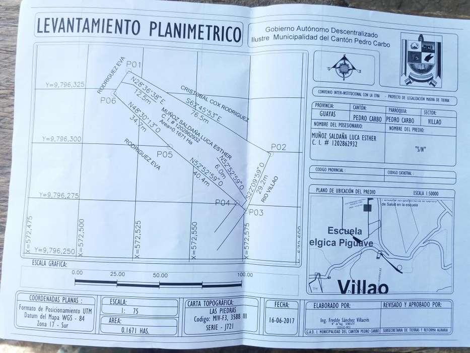 Predio En Venta en Recinto Villao del Cantón Pedro Carbo