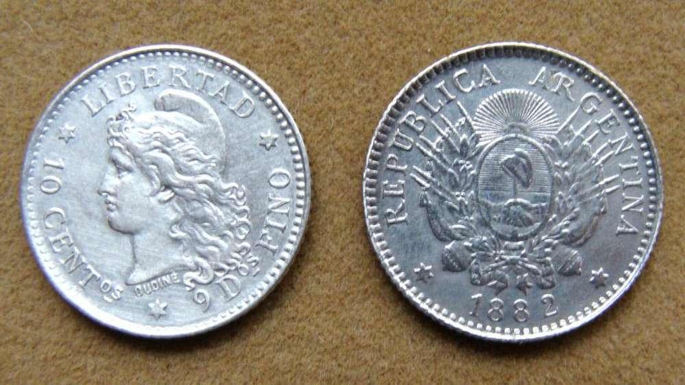 Moneda de 10 centavos de plata Argentina 1882