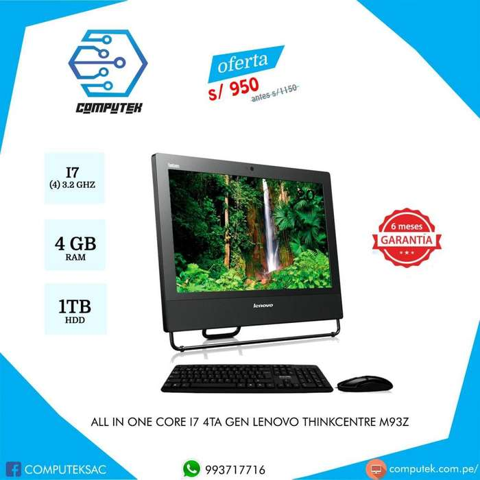 All in One Lenovo m73z Thinkcenter - Core i7-4Gen, 3.2Ghzm Ram 4Gb, HDD 1TB - Remate S/950