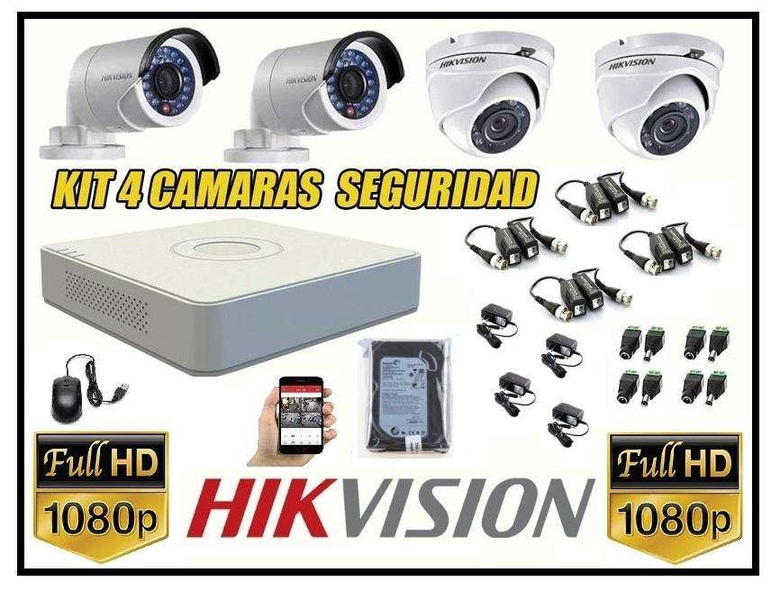 kit de 4 camaras seguridad FULLHD1080p CCTV disco 500gb HIKVISION