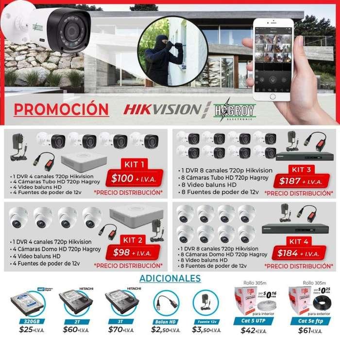 Kit Camaras. Hagroy. Hikvision. Domo. Tubo. 720p. Full HD. Camaras vision nocturna. Seguridad. <strong>video</strong> vigilancia