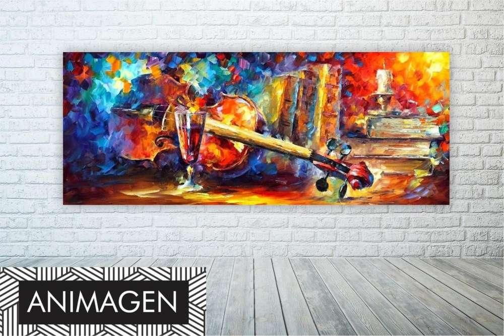 hermosos cuadro de Violín con efecto pincelada 9665