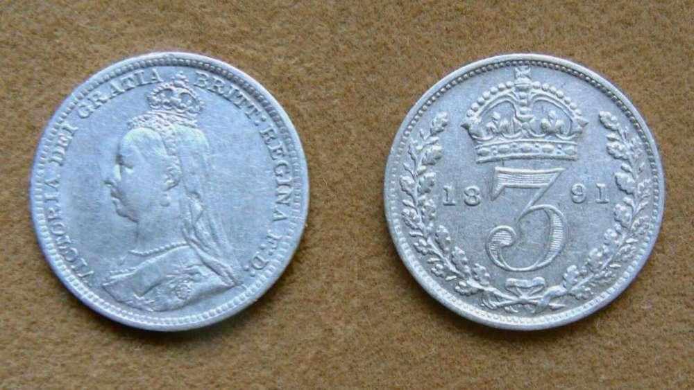 Moneda de 3 peniques de plata Gran Bretaña 1891