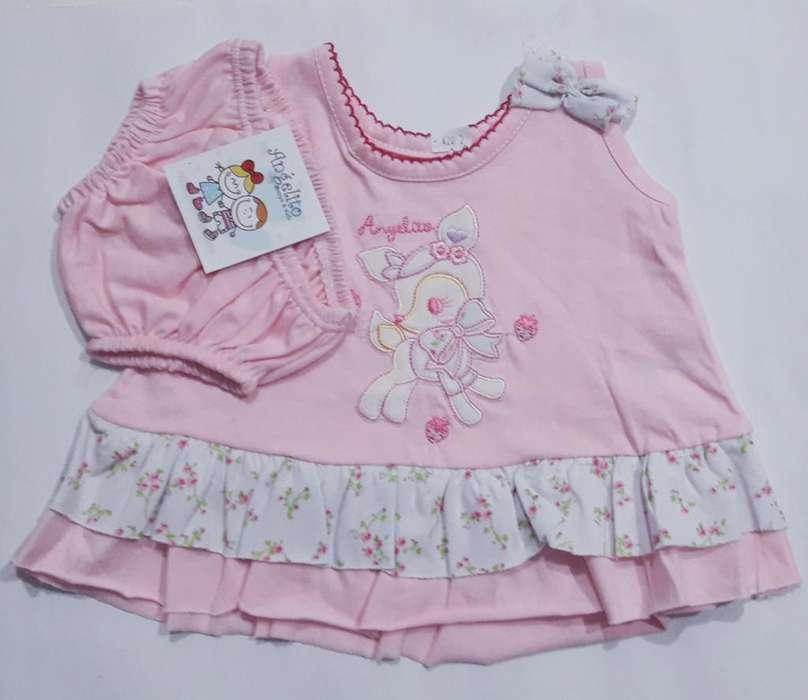 Vestido Y Bombacha Bb Rosa
