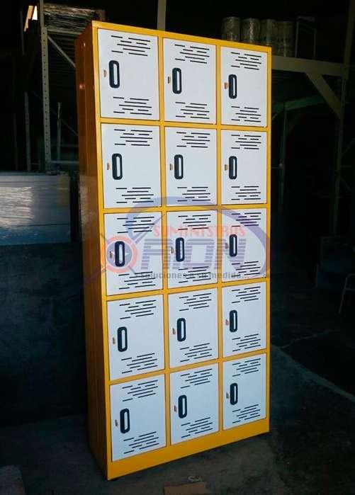 Locker 15 puestos metalico. Fabricación bajo pedido.