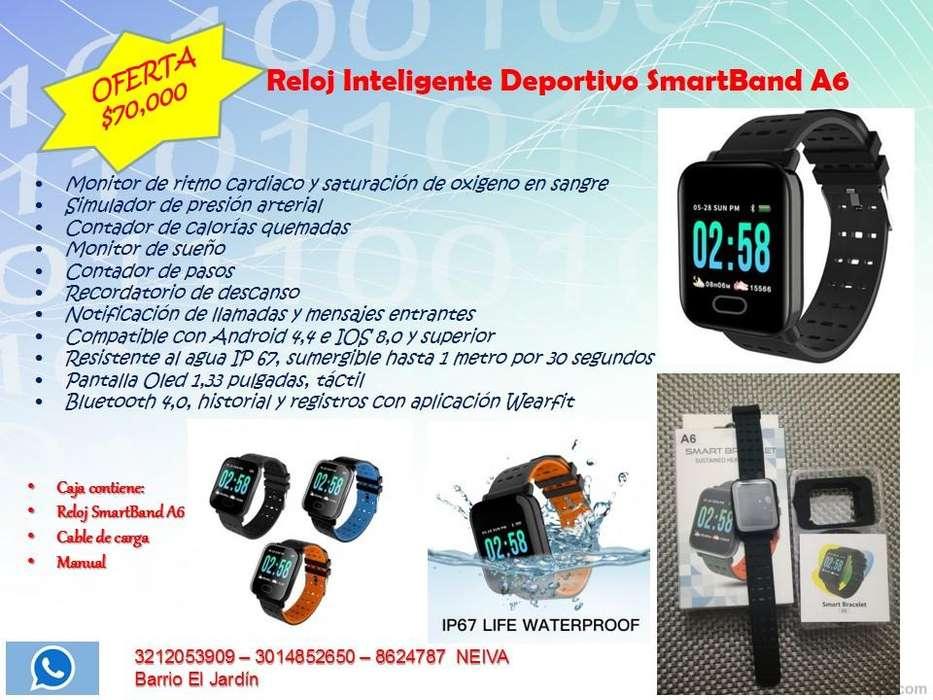 Reloj inteligente SmartBand A6 Mide presión arterial pulsaciones