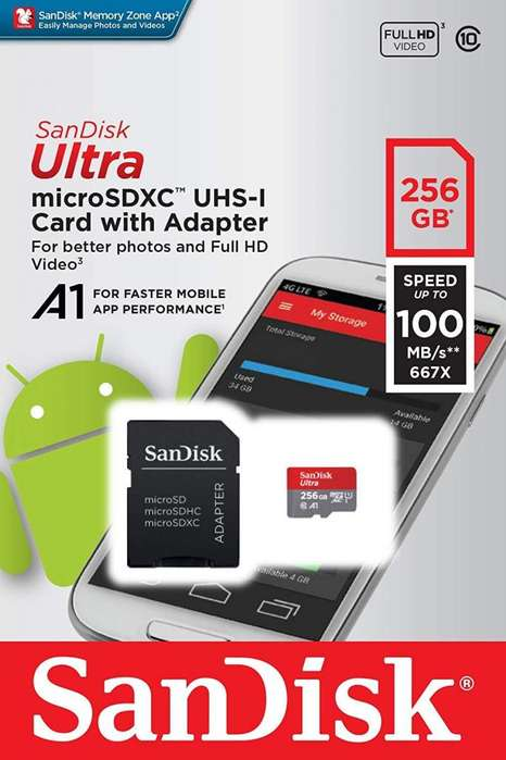 Tarjeta de memoria microSD SanDisk 256Gb SD celulares tablets video Full HD 128 GB 64 GB