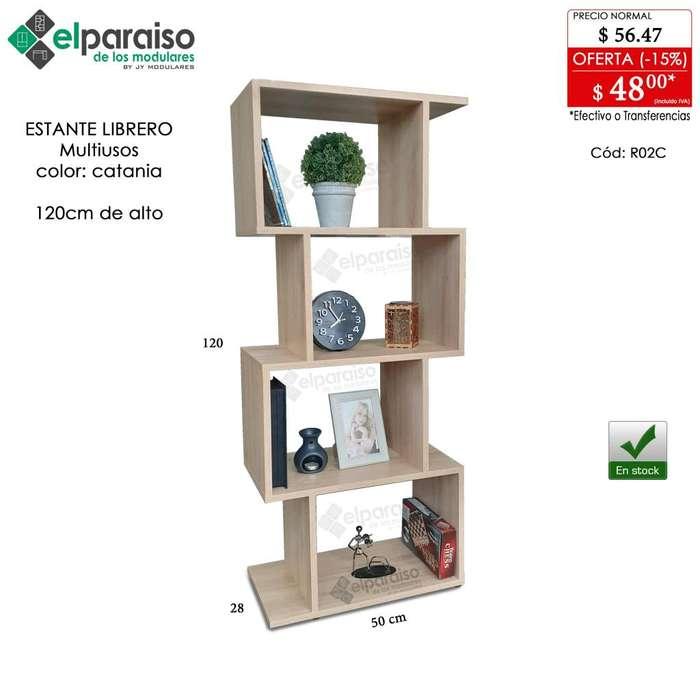 Librero estanterías multiusos 120cm y 148cm alto, modulares colores modernos, listos de entregar