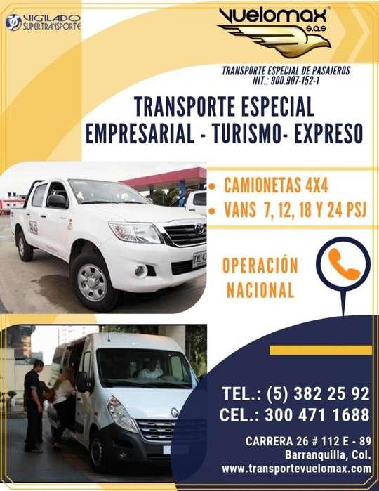 TRANSPORTE VAN TURISMO Y EMPRESARIAL ESPECIAL DE PASAJEROS