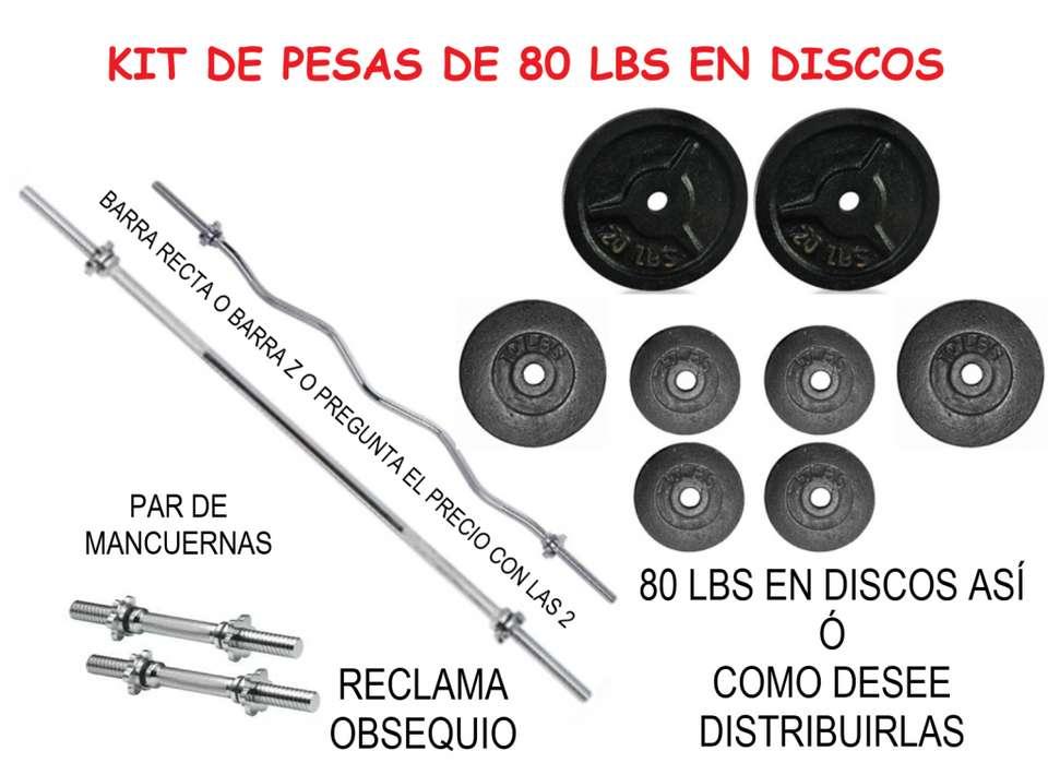 KIT DE 80 LBS EN DISCOS – PAR BARRA MANCUERNAS – BARRA RECTA 150 CM O BARRA Z – RECLAMA OBSEQUIO.