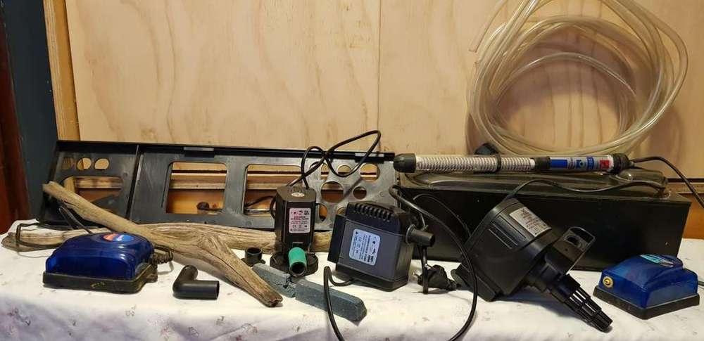 accesorios pecera (filtro, bomba, troncos calentador, manguera)