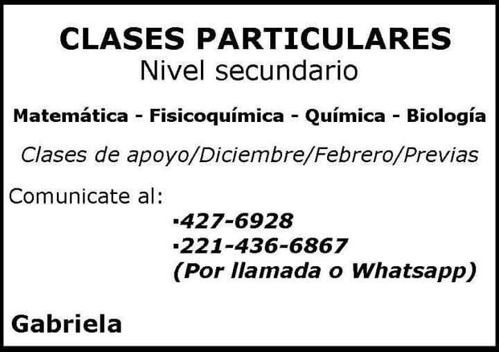 Clases particulares de matemática, fisicoquímica, química y biología