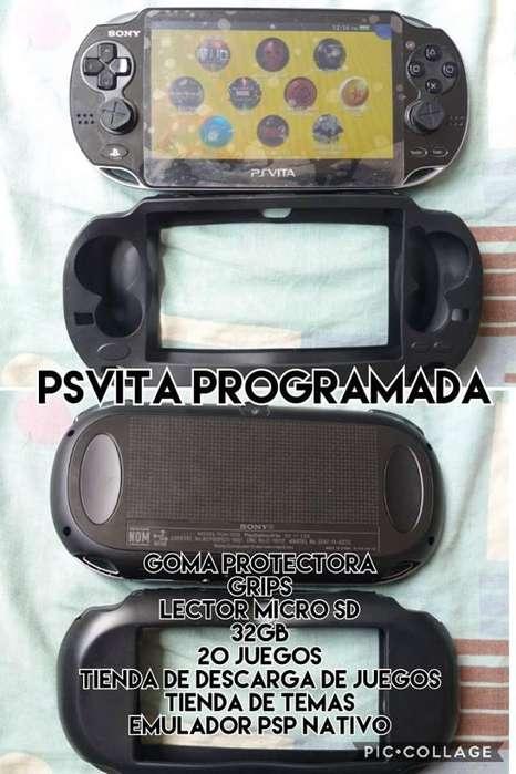 psvita programada con lector micro-sd-32gb-20 juegos y tienda-de-descarga-gratis-venta-cambio