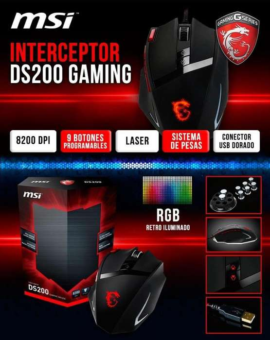 mouse gamer msi Interceptor Ds200 Laser 8200 dpi rgb