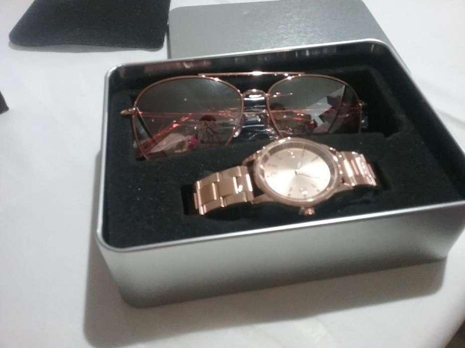 Set Gafas de Sol Y Reloj Rose Gold