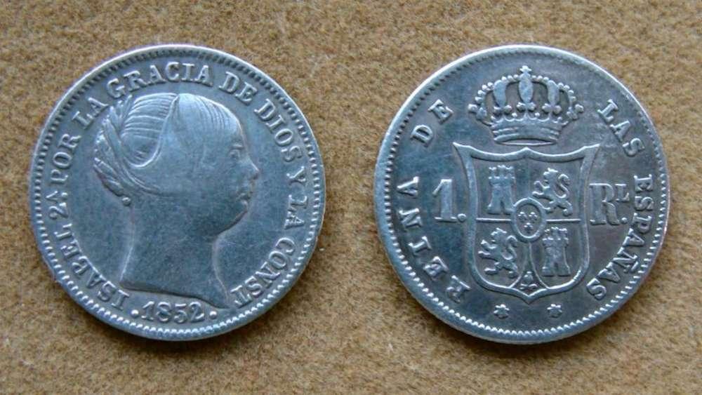 Moneda de 1 real de plata, España 1852