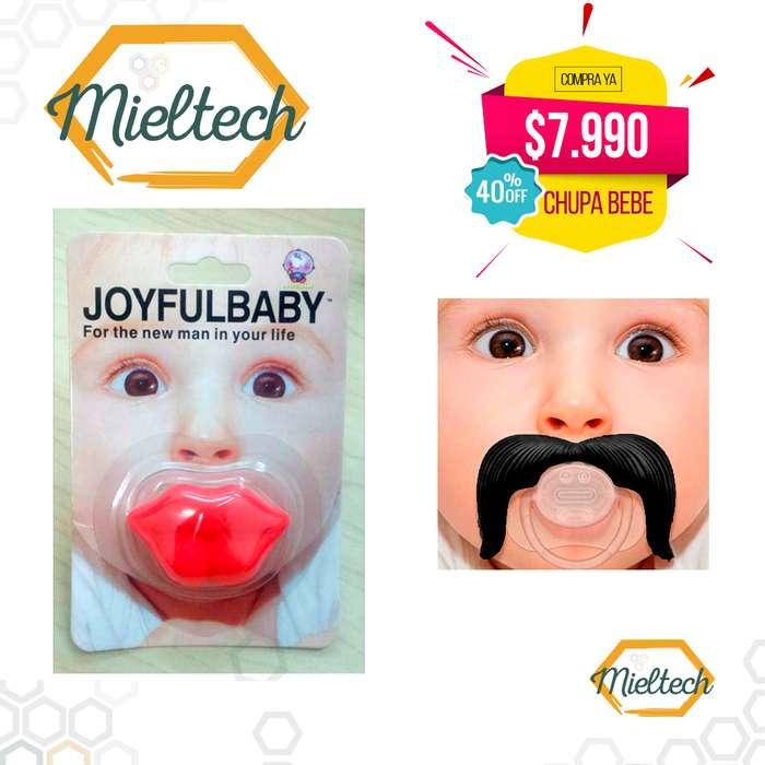chupa en forma de labios y bigote biberon chupo
