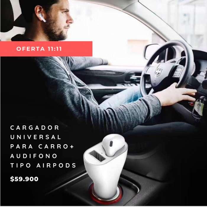 Cargador universal para carro Audífono tipo AirPods