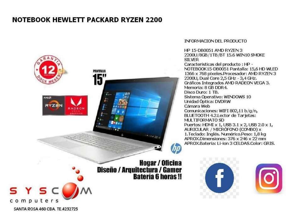 NOTEBOOKS HP RYZEN 3 2200G , 8GB , ATI RADEON VEGA