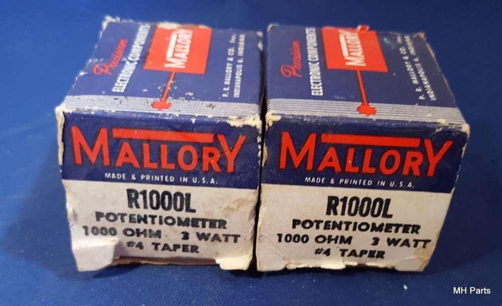 Mallory R1000L Potenciómetro 1000 OHM 3 vatios N. 4 Taper NOS