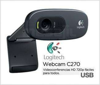 WEBCAM CAMARA WEB HD 720p LOGITECH C270 DE 3MP CON MICROFONO INCORPORADO