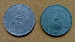 Moneda de 1 öre Dinamarca año 1963