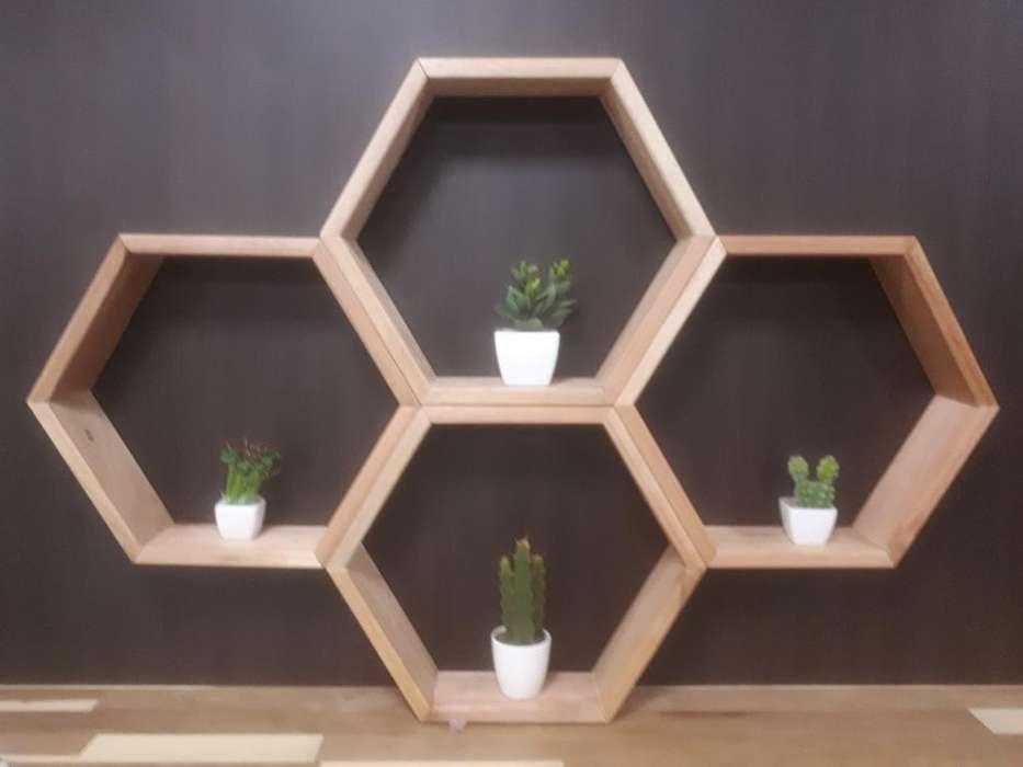 Estante Exagonal X 4 Modulos