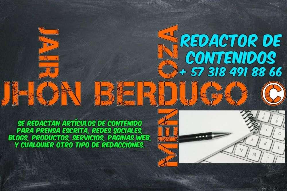 REDACTOR DE CONTENIDOS PARA WEB, BLOG, PRODUCTOS, SERVICIOS, NOTICIAS, REDES SOCIALES, ENTRE OTROS