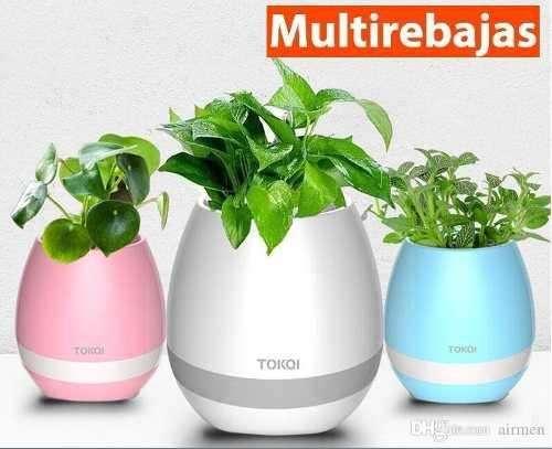 parlante bluetooth masetero para plantas reales con luces led