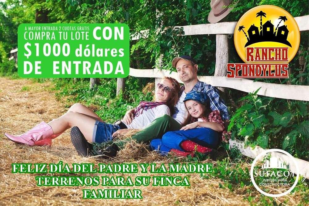 1000 DE ENTRADA Y DOS CUOTAS GRATIS TERRENOS CAMPESTRES A 40 MINUTOS DE MANTA PARA SU CASA DE CAMPO / SD3