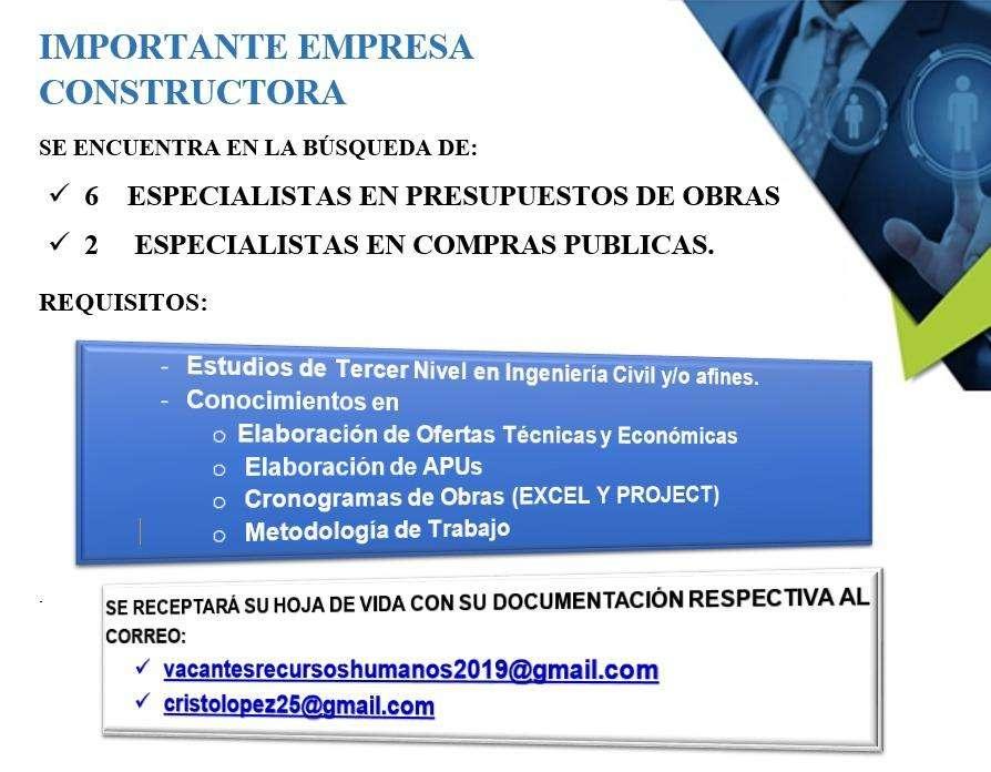 ESPECIALISTAS EN COMPRAS PUBLICAS