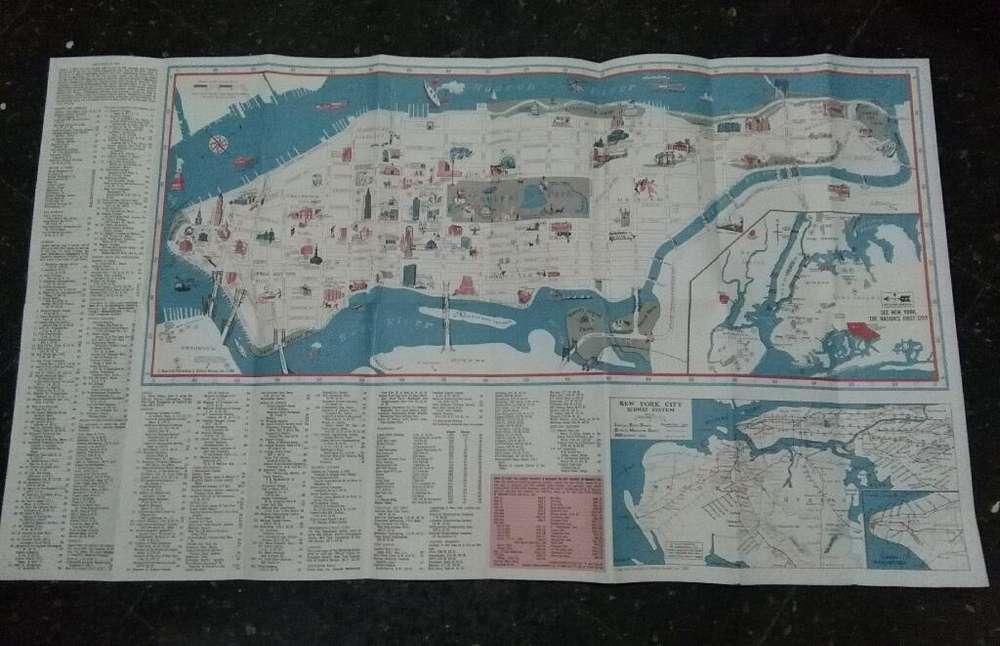 Mapa Guia New York 1968 Manhattan Nueva York Antiguo
