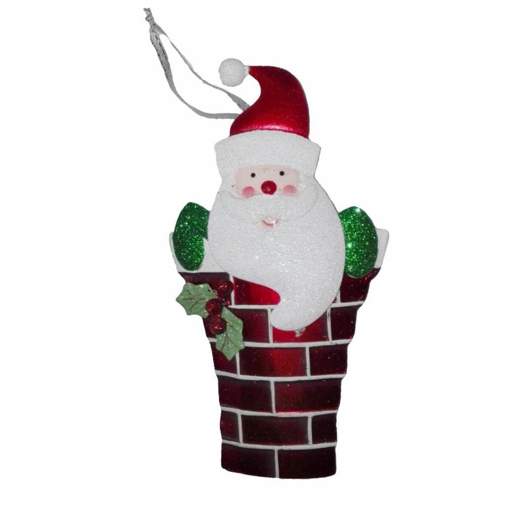 Adorno metal papanoel Chimenea 18Cm decoracion para Arbol Navidad original de EEUU casa sala regalo