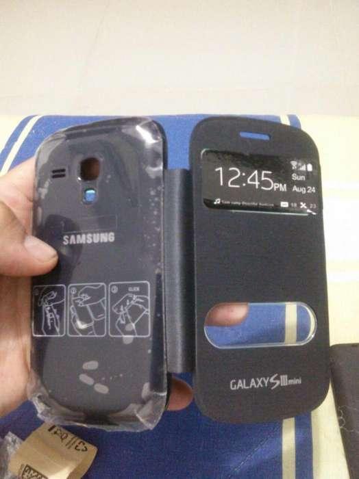 Forro con tapa incluida Samsung Galaxy S3 Mini, nuevos, blanco,negro, rosado, azul. negociables