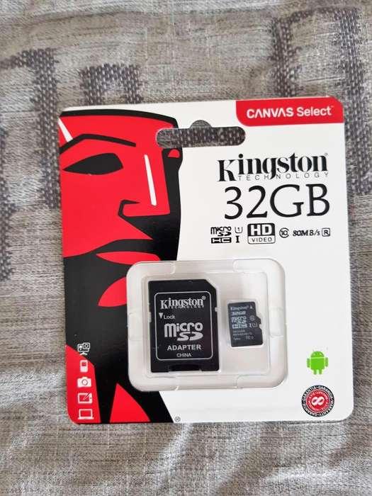 MEMORIA KINGSTON 32 GB SD CLASE 10, ORIGINALES,
