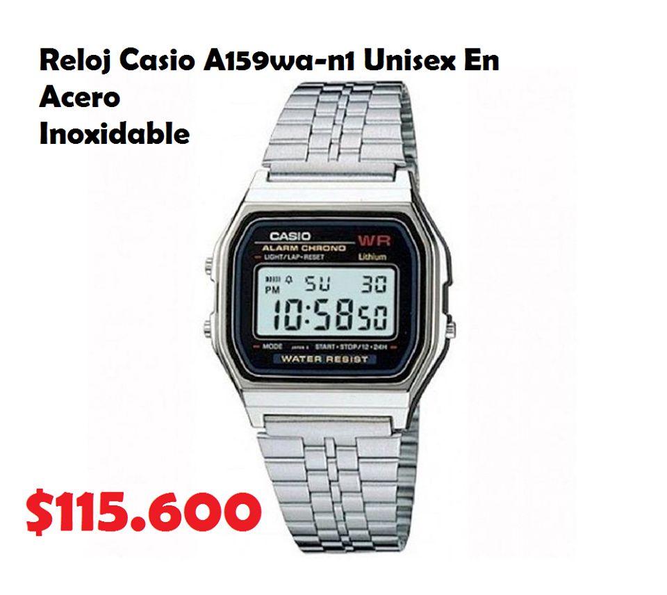 3459e9795d93 RELOJ CASIO A159-wa-n1 UNISEX EN ACERO INOXIDABLE (ENVIOS GRATIS A TODO
