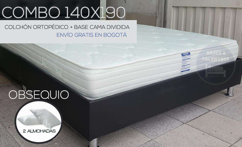 Combo matrimonial Colchón Ramguiflex 140x190 basecama 2 almohadas envío gratis en Bogotá