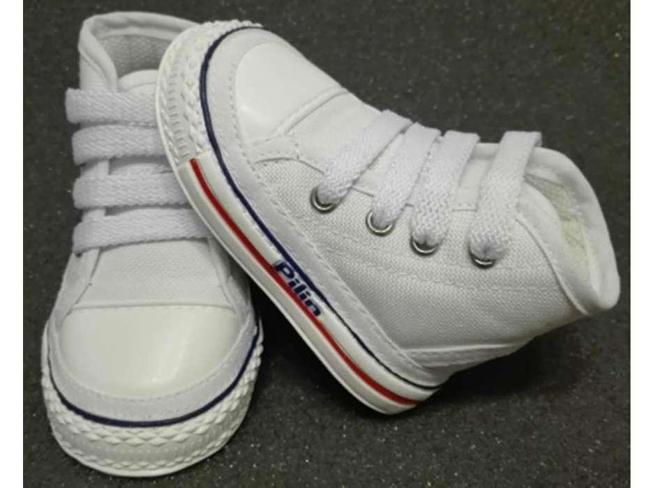 Zapatos para Bebés Gateadores Ref. 2010 Blanco Azul