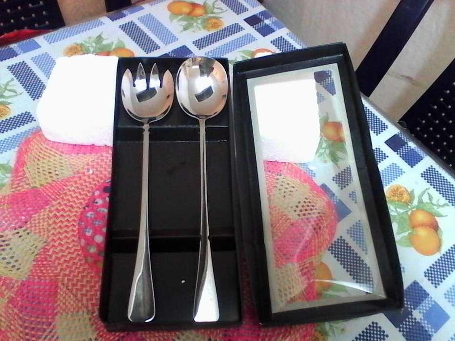 juego de cuchara y tenedor en acero inoxidable para cocinar