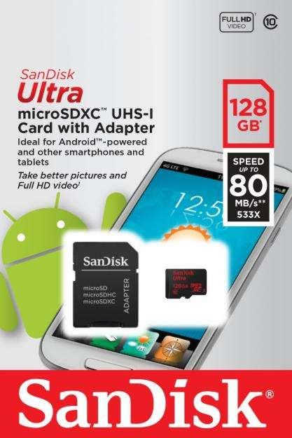 Memoria Microsd 128gb Clase10 Microsdxc Sandisk Ultra 80mb/s